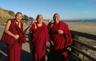 Ven. Tenzin Gyeltsen, Lama Zopa Rinpoche and Dagri Rinpoche going to the ocean to bless sentient beings, Aptos, California, USA, October 2013.  Photo by Ven. Roger Kunsang