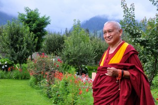 Lama Zopa Rinpoche in Manali, India, July 2013. photograph by Ven Sarah Thresher
