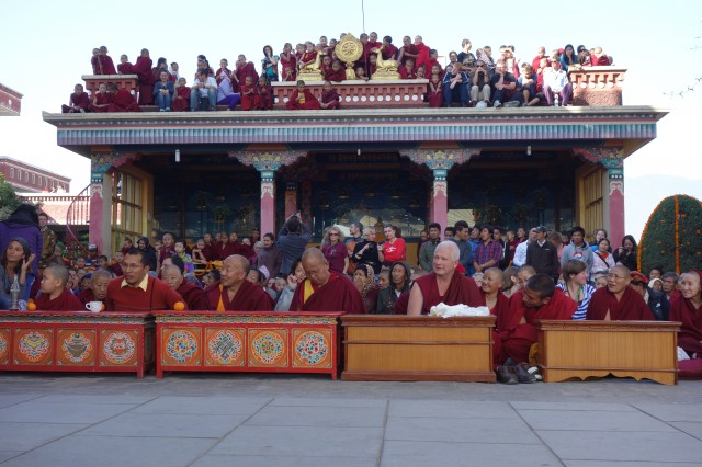The Kopan course participants and sangha getting settled into the best positions to watch the entertainment the entertainment following the long life puja. December 9, 2013.