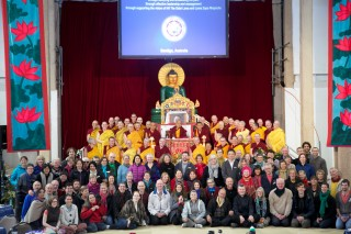 Lama Zopa Rinpoche and CPMT 2014 meeting participants in the Great Stupa of Universal Compassion, Australia, September 2014. Photo by Steve Alberts.