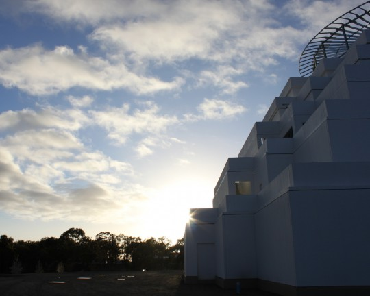 The morning sun at the Great Stupa of Universal Compassion, Bendigo, Victoria, Australia, September 17, 2014. Photo by Laura Miller