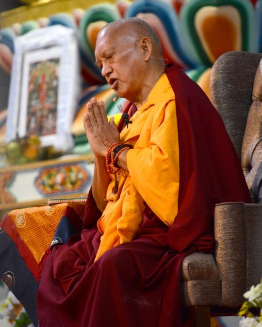 Lama Zopa Rinopche teaching at Great Stupa of Universal Compassion for long life puja, Australia, September 19, 2014. Photo by Kunchok Gyaltsen.