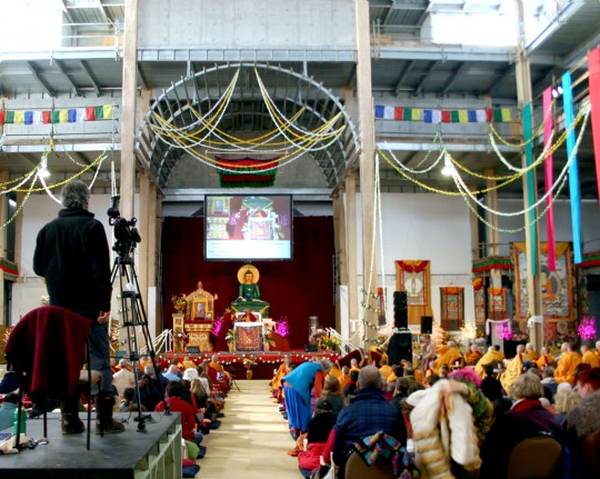 Lama Zopa Rinpoche teaching during the retreat in Australia at the Great Stupa of Universal Compassion, October 2014. Photo by Cynthia Karena.