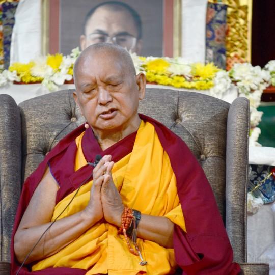 Lama Zopa Rinpoche during public talk at the Great Stupa of Universal Compassion, Australia, September 20, 2014. Photo by Kunchok Gyaltsen.