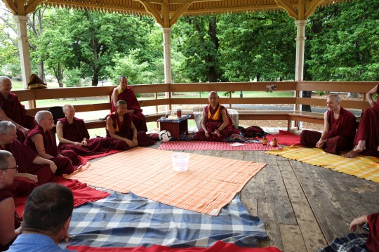 Lama Zopa Rinpoche picnics with Sangha after the recent retreat, Bendigo, Australia, October 2014. Photo by Ven. Roger Kunsang.