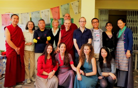 The new Lotsawas, Gen Sherab, Gen Teresa, Geshe Wangdak, Sally the Director, Acha Choezom la and Martha, celebrating the graduation from the first part of LRTZP6