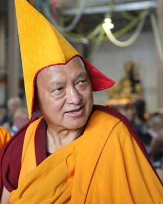 Lama Zopa Rinpoche after the long life puja at the CPMT 2014 meeting, Australia, September 2014. Photo by Ven. Roger Kunsang.