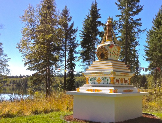 The Stupa for World Peace and Environmental Harmony,  Spokin Lake, B.C., Canada. Photo courtesy of Gendun Drubpa Centre.