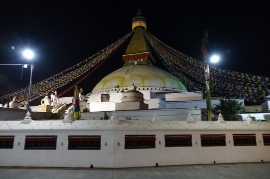 Boudhanath Stupa at night, Nepal, December 2014. Photo by Ven. Roger Kunsang.