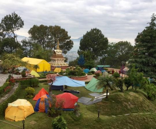Tents around the stupa at Kopan Monastery following the earthquake.
