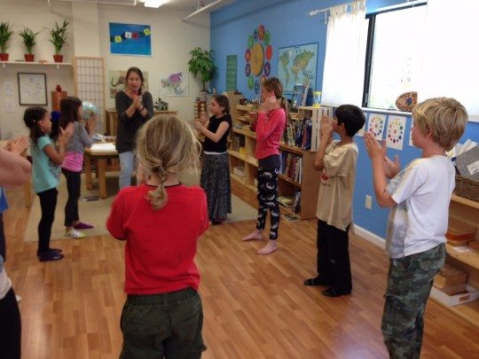 Mary Webster leads a drama exercise in the Evergreen class at our pilot program, Tara Redwood School in Soquel, California, US. Photo courtesy of CCC.
