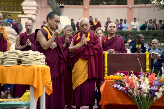 Lama Zopa Rinpoche, Mahabodhi Stupa, Bodhgaya, India, March 2015. Photo by Andy Melnic.