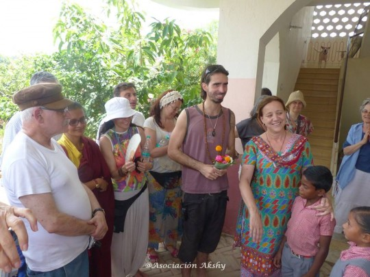 Osel visiting Akshay Educational Centre in Amwan, India.