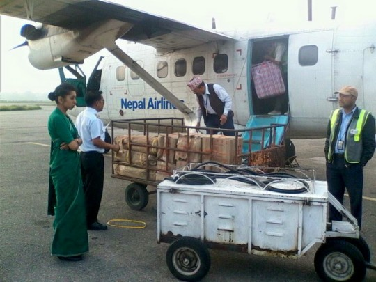 Air cargo will go from Kathmandu to Lukla and then helicopters will bring packages of aid from Lukla to Khumjung and Thame.