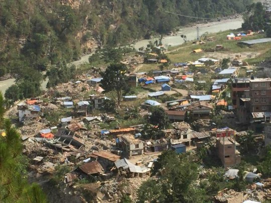 Birds-eye view of the devastation of the Dolakha District f Nepal where Kopan Helping Hands is currently focusing relief efforts toward. Photo courtesy of Kopan Facebook page.