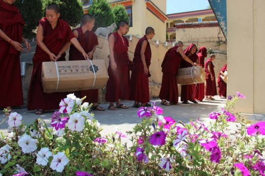 Kopan monks and nuns worked with several charities and individuals to distribute much needed aid to villagers in upper Tsum. Photos courtesy of Geshe Tenzin Lundrup.