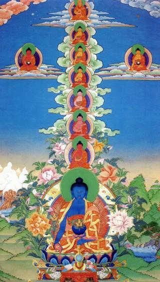 Medicine Buddhas thangka by Bob Cayton.