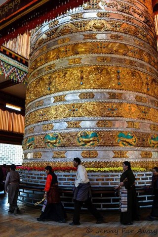 Prayer wheels are filled with mantras traditionally printed on strips of paper and tightly rolled around the core. These days mantras are reproduced onto microfilm; the more mantras, the more powerful. Very large prayer wheels contain billions of mantras.