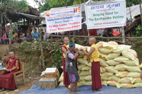 Namgyal Rinpoche Foundation worked with Kopan Helping Hands in August to distribute food to villagers in need in Dhading District, Nepal. Photo courtesy of Namgyal Rinpoche Foundation Facebook page.