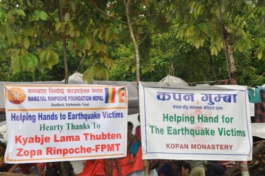 FPMT's Nepal Earthquake Support Fund supports Namgyal Rinpoche's efforts to provide short and long term aid to those devastated by the Nepal earthquakes. Photo courtesty of Namgyal Rinpoche Foundation Facebook page.
