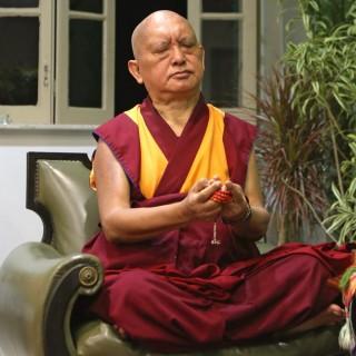 Lama Zopa Rinpoche offering a mandala during tsog puja, Rio de Janeiro, Brazil, September 2015. Photo by Ven. Roger Kunsang.