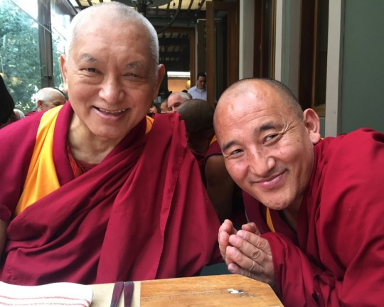 Lama Zopa Rinpoche with Geshe Kunkhen, resident geshe at Centro Yamantaka, Colombia, September 2015. Photo by Ven. Roger Kunsang.