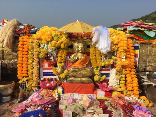 The altar at Vulture's Peak, Rajgir, India, October 2015. Photo courtesy of Ven. Sarah Thresher.
