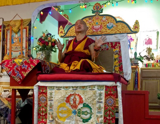 """Completely empty,"" Lama Zopa Rinpoche teaches at Tsen Chen Ling, California, US, October 31, 2015. Photo by Ven. Roger."