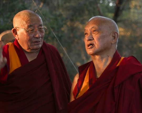Lama Zopa Rinpoche and Geshe Ngawang Dakpa, resident geshe as Tse Chen Ling, during visit to Kachoe Chen Ling, Aptos, California, US, October 2015. Photo by Ven. Thubten Kunsang.