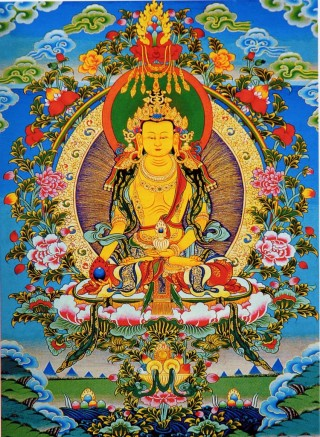 Kshitigarbha painting. 1.8 million recitations of the long Kshitigarbha mantra are needed to help mitigate possible earthquakes.