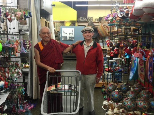 Lama Zopa Rinpoche with a new friend he met while shopping and to whom he gave a 30-minute introduction to Buddhism, California, US, October 2015. Photo by Ven. Roger Kunsang
