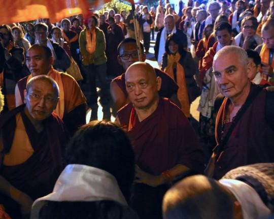 Lama Zopa Rinpoche arriving at Kopan Monastery, November 2015. Photo by Ven. Thubten Kunsang.