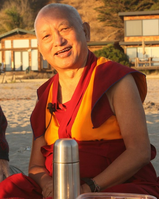Lama Zopa Rinpoche on the beach to do blessing for all the sentient beings in the ocean, California, October 2015. Photo by Ven. Roger Kunsang.