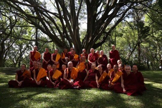 Lama Zopa Rinpoche with Western Sangha, Mexico, 2015. Photo by Ven. Thubten Kunsang.
