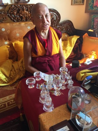 Lama Zopa Rinpoche, Kopan Monastery, Nepal, November 2015. Photo by Ven. Roger Kunsang.