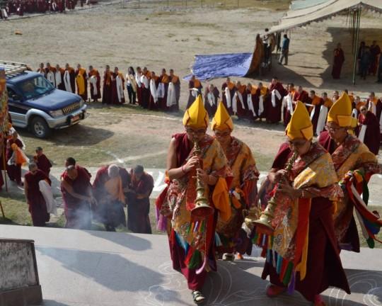 Rinpoche arriving at Kopan Nunnery for the birthday celebration, Nepal, December 3, 2015