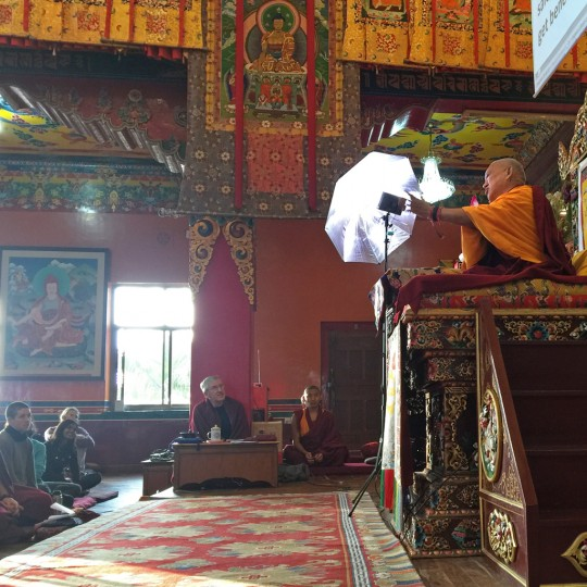 Lama Zopa Rinpoche teaching at the Kopan Course, Kopan Monastery, Nepal, December 2015. Photo by Ven. Roger Kunsang.