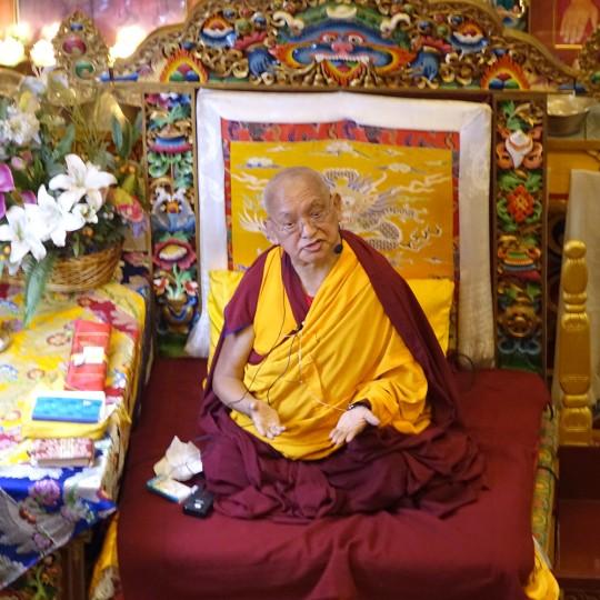 Lama Zopa Rinpoche teaching at Kopan Monastery, December 2015. Photo by Ven. Roger Kunsang.