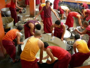 The monks have to work very hard with big equipment and huge quantities of food to help offer three meals every day.