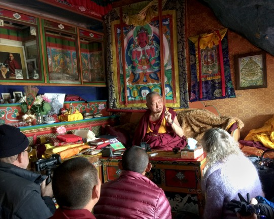 Lama Zopa Rinpoche teaching in his cave at Lawudo, Nepal, April 2015. Photo by Ven. Roger Kunsang.