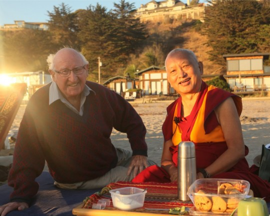 Lama Zopa Rinpoche with Richard, the father of long-time FPMT student Pam Cayton, California, October 2015. Photo by Ven. Roger Kunsang.