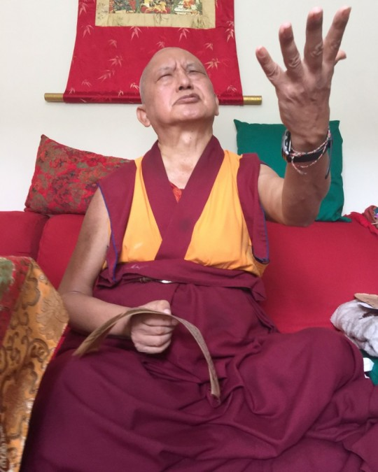 Lama Zopa Rinpoche teaching in Brazil, September 2015. Photo by Ven. Thubten Kunsang.