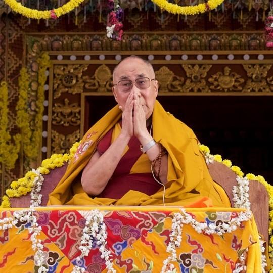 His Holiness at Tashi Lungpo, Karnataka, India, January 1, 2016. Photo by Bill Kane.