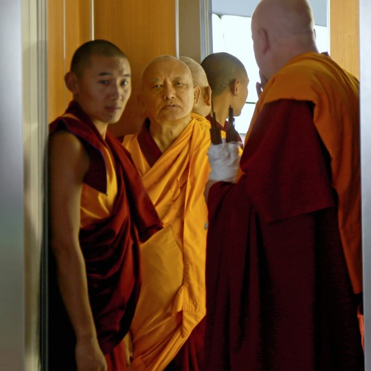 Lama Zopa Rinpoche in elevator at lam-rim retreat in Mexico, September 2015. Photo by Ven. Thubten Kunsang.
