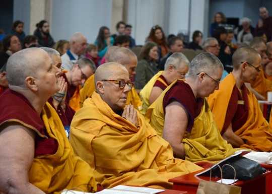 Sangha and lay students listen intently to the praises as they are read during the long life puja for Lama Zopa Rinpoche, Great Stupa of Universal Compassion, Australia, September 2014. Photo by Kunchok Gyaltsen.