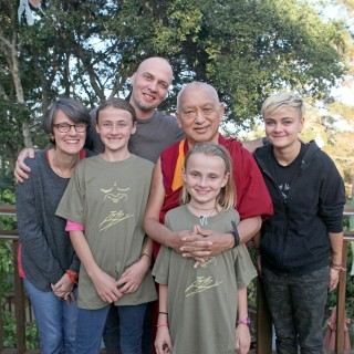 Lama Zopa Rinpoche with the Stafford family (from left) Mer, Mia, Troy, Maude and Maddy, California, October 2015. Photo by Ven. Lobsang Sherab.