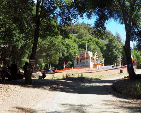 The finish line and the Mahabodhi Stupa being built at Land of Medicine Buddha, California, US, August 2015. Photo courtesy of Mer Stafford.