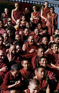 Lama with Sangha on the steps of Kopan Monastery