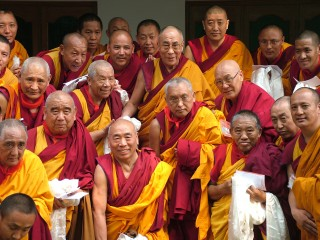His Holiness the Dalai Lama with Lama Zopa Rinpoche and 27 geshes, who serve as resident teachers in FPMT centers, during the 2007 Geshe Conference organized by FPMT.