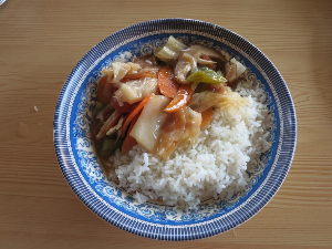 mon rice with veg